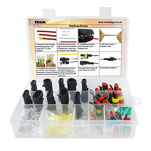 10 Set Waterproof Electrical Connector Plug Terminals Heat Shrink 2/3 Pin Way with Fuses, Clear Box by Qook