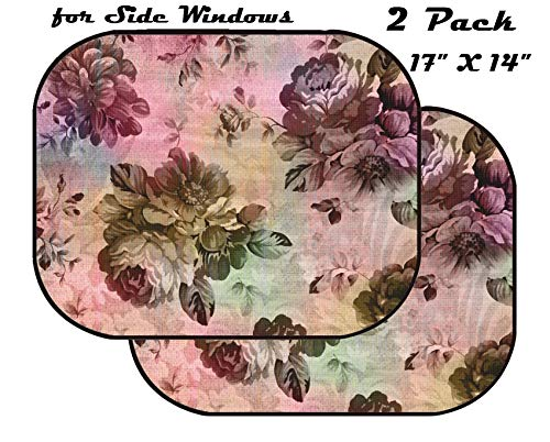 Fabric Texture Wallpaper - MSD Car Sun Shade for Side Window - UV Protector for Baby and Pet - Block Sunlight - Image of Pattern Design Background Flower Fabric Floral Decoration Texture Art Vintage Style Abstract Wallpaper r