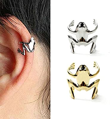 d097a41bd Amazon.com: HuntGold 1X Unisex Frog Design Alloy Ear Cuff Clip Wrap Earings  Fashion Jewellery(Silver): Sports & Outdoors