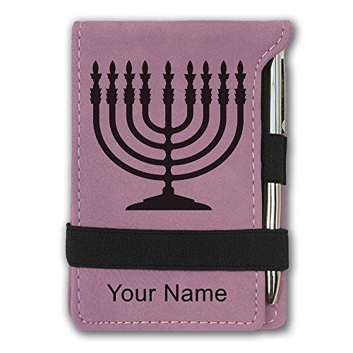 Personalized Menorah - Mini Notepad, Menorah, Personalized Engraving Included (Pink)