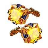 Daptsy luxury exquisite gold square big crystal cufflinks for men & women, whale back yellow cufflinks