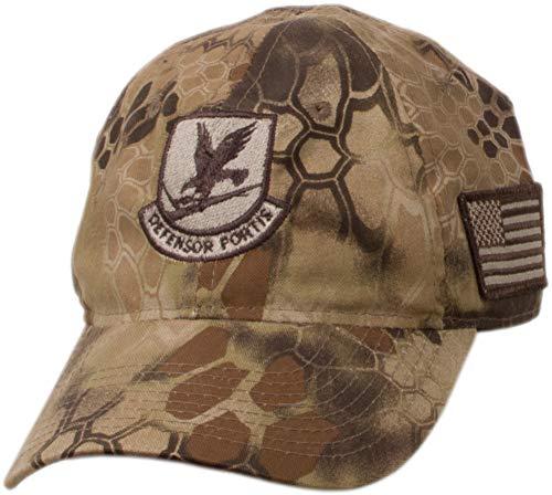 Military Shirts USAF Security Forces Emblem Kryptek Camo Cap (Brown)