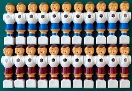 Ilonas Playworld - Juego de 22 figuras de futbolín (de PVC, 16 mm), color rojo y azul: Amazon.es: Juguetes y juegos