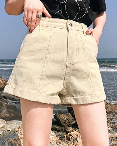 Basique Femme de Beige Jean Trou en Shorts Short Bermudas rrXqx4