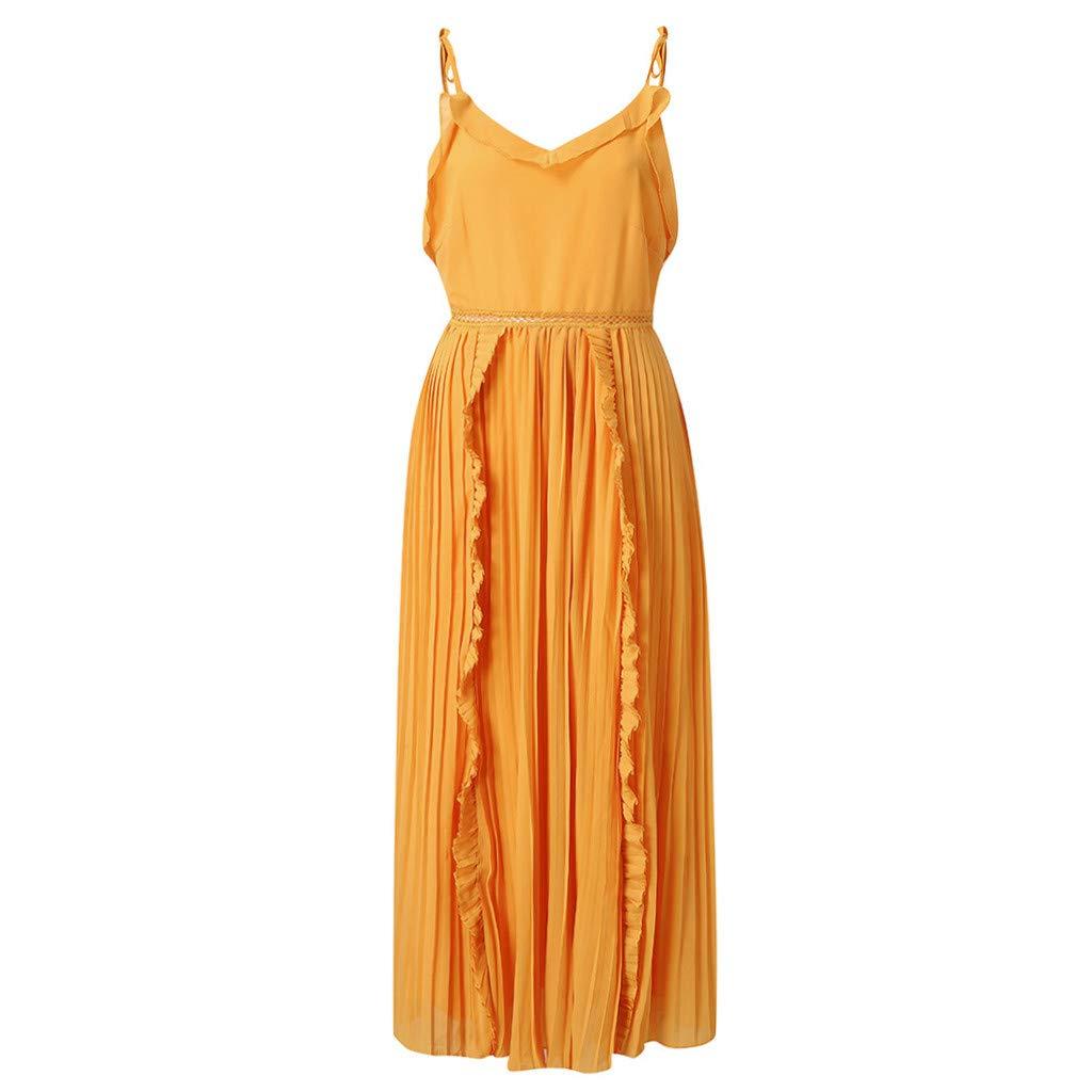 Ultramall Dresses for Women Party Wedding Knee Length Off-Shoulder Ruffles Sleeveless Mini Princess Dress(Yellow,L) by Ultramall (Image #6)