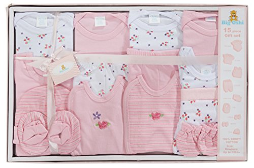 Big Oshi 15 Piece Layette Newborn Baby Gift Set for Girls - Great Baby Shower or Registry Gift Box to...