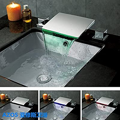 AZOS Modern Bathroom Basin Faucets LED Light Chrome Polished Widespread Waterfall Mixer Taps