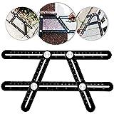 Multi Functional Angle Measuring Ruler, Template Tool, UMILLER Adjustable Aluminum Alloy Ruler for Craftsman, Builder, Carpenter, Architect, Engineer or DIY Lover (Black)