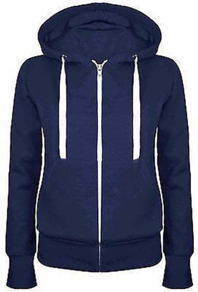YUFUFU Kapuzenpullover Frauen Hoodies Mantel New Zipper Hooded Sweatshirts Hoody Jacke Womens Coat Pockets Outerwear Tiefes Blau