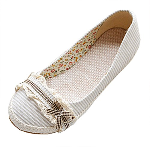 Women's Round Toe Flat Loafers Sweet Casual Shoes with Bow Beige - 4