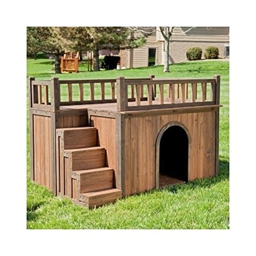 Wooden Outdoor Dog House with Balcony and Staircase – Medium