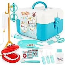 Lanlan 15Pcs/set Doctor Series Pretend Play Set Children Simulation Dental Clinic Medical Kit Kids Educational Toy blue