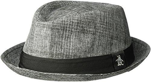 Original Penguin Men's Textured Porkpie, Charcoal, S-M (Mens Pork Pie Hat)