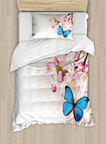 Ambesonne Butterfly Duvet Cover Set, Blue Butterfly on Spring Cherry Japanese Flowers White Orchard Nature Theme, Decorative 2 Piece Bedding Set with 1 Pillow Sham, Twin Size, Pink Blue