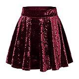 Urban CoCo Women's Vintage Velvet Stretchy Mini Flared Skater Skirt (M, Wine Red-Series 2)
