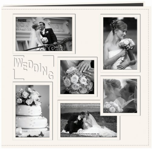 Pioneer 12-Inch by 12-Inch Collage Frame Embossed Wedding Sewn Leatherette Cover Memory Book, - Wedding Memory Embossed Book