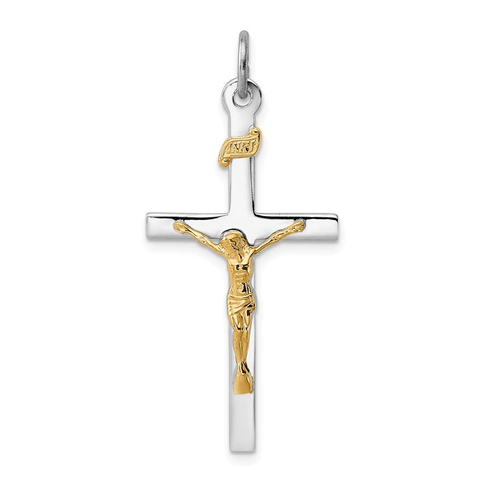 Mia Diamonds 925 Sterling Silver Solid and 18K Gold 36mm x 18mm Plated Crucifix Pendant