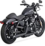 14-19 HARLEY XL883N: Vance & Hines Twin Slash Rounds Slip-On Exhaust (Black / 3'')