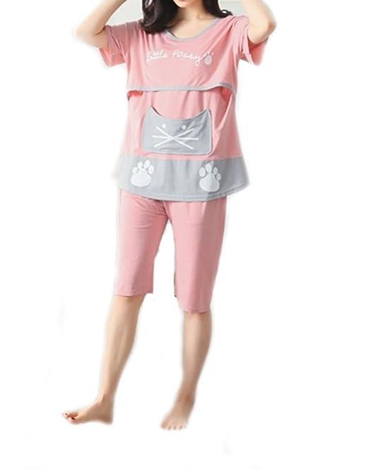 cd304378caea5 Bold N Elegant Pink Meow Soft Cotton Knee Length Maternity Sleepwear Sets Pregnancy  Night Suit Feeding