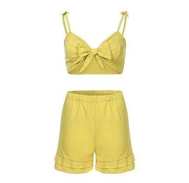 UFACE Frauen Einfarbig lässig zweiteilig Frauen Sommer Solid Sleeveless  Shirt Shorts Hosen Bluse Tops 2 STÜCKE 253cea902b