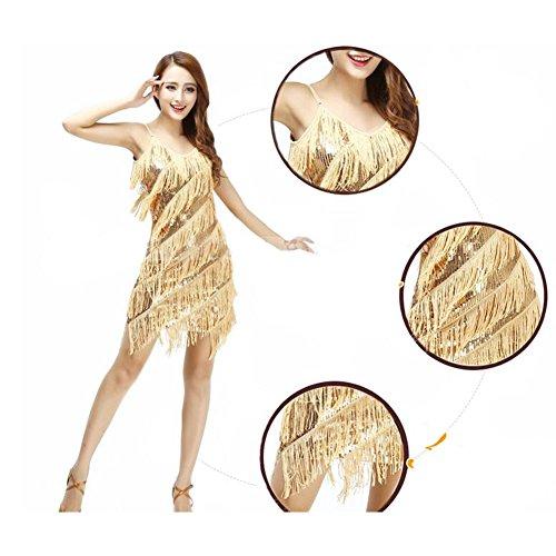 Licol Latin / Rumba / Cha-cha Danse Frange De Paillettes Robe De Danse Jupe Dorée