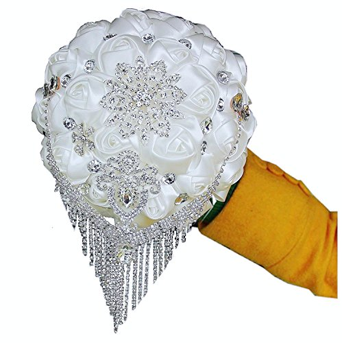 Flyme Wedding Bouquets,Bridal Bride Holding Flowers,Water Drops (White)