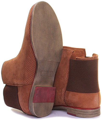 Flat Justin 8 Brown Reece UK Chelsea Boot Leather Perforated Women qgtB0Hg
