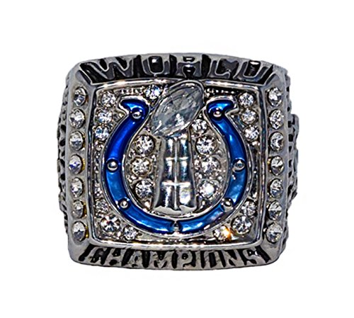 INDIANAPOLIS COLTS (Peyton Manning) 2006 SUPER BOWL XLI WORLD CHAMPIONS (Our Time) Rare & Collectible Replica National Football League Silver NFL Championship Ring with Cherrywood Display Box