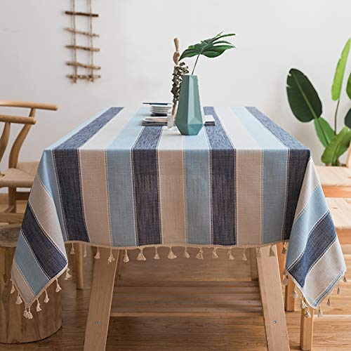 Gravan Striped Tassel Tablecloth for Rectangle Tables Heavyweight Cotton Linen Table Cover for Kitchen Dinning Tabletop Decoration ()