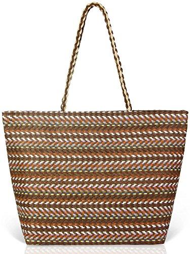 Beach Bags for Women Summer Colorful Woven Handbag Oversized Holiday Bag (Oversized Large Woven Handbag Tote)