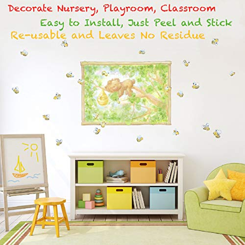 Woodland Animals Peel and Stick Wall Decals for Kids Room Decor. Forest Creatures Wall Stickers for Wall Decor. (Bear)