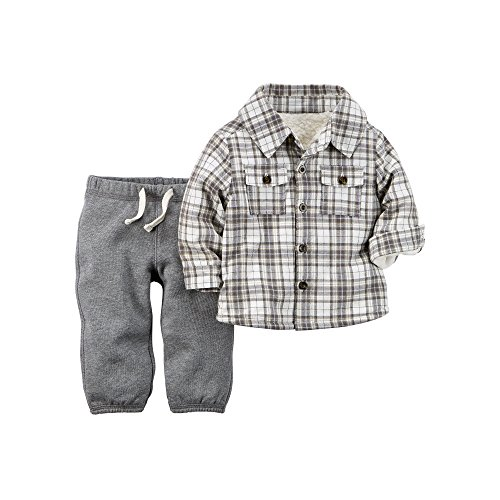 carters-baby-boys-2-piece-sherpa-lined-flannel-top-terry-pant-set-3-months-grey
