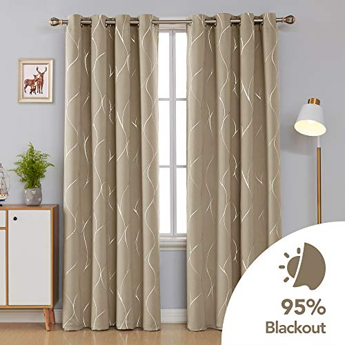 Deconovo Silver Wave Foil Print Blackout Curtains Grommet Light Blocking Curtain Room Darkening Noise Reducing Window… 2