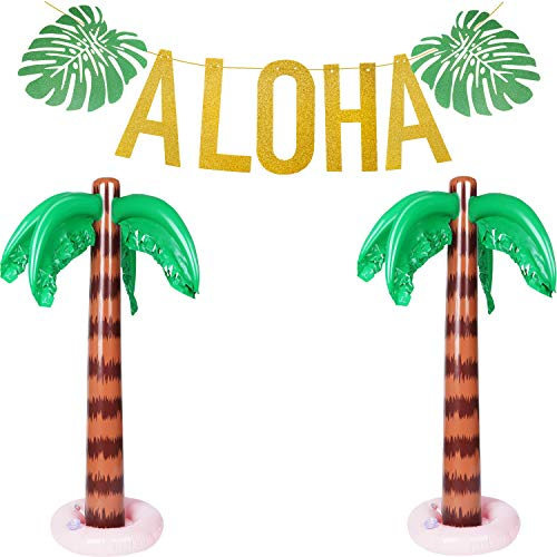 Hawaiian Tropical Party Decorations Set, Include Glittery Aloha Banner and 2 Pieces Inflatable Palm Trees for Luau Party Supplies (Tree Palm Banner)