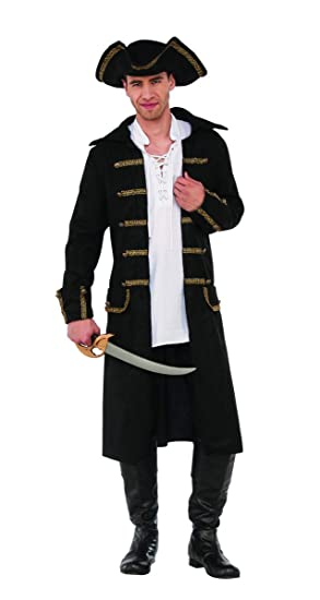 Amazon.com  Gentleman Pirate Costume Captain Black Coat N  Tricorn Hat Men  Plus Size Std-XXL  Clothing 34c9c25d4ef4