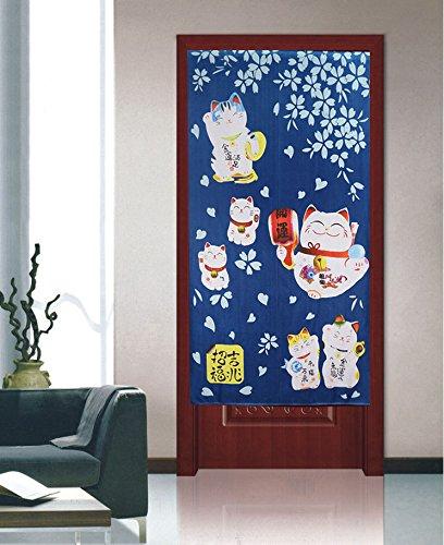 Japanese Noren Doorway Curtain with Lucky and Fortune Cats Pattern Auspicous Maneki Neko Door Curtain (Blue) by Lifeast