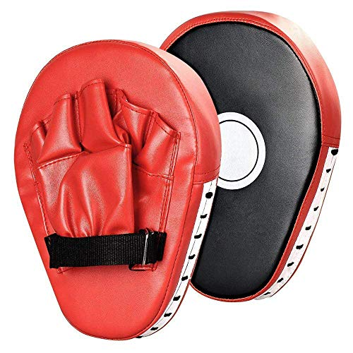 (Junboys 1 Pair PU Leather Punching Kicking Palm Pad Hook Jab Strike Pads Boxer Target Focus Punch Mitt Pads Boxing Mitts Gloves Curved for Karate Combat Muaythai Kick Boxing UFC MMA Training. (Red))