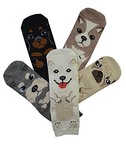 5 Pairs Women's Fun Socks Cute Dog Animals Funny Funky Novelty Cotton Gift (Dog)