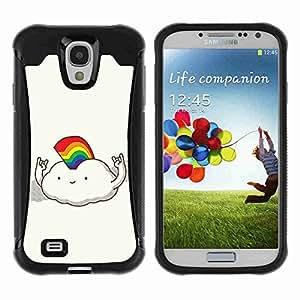 A-type Arte & diseño Anti-Slip Shockproof TPU Fundas Cover Cubre Case para Samsung Galaxy S4 IV (I9500 / I9505 / I9505G) / SGH-i337 ( Funny Rainbow Cloud Illustration )
