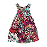 sunnymi For 2-10 Years Old Fashion Cute Toddler Kids Baby Girl Outfit Floral Long Skirt Pattern Sleeveless Strap Clothes Princess Dress Wedding Party Kids Dress (White, 4-6 Years Old)
