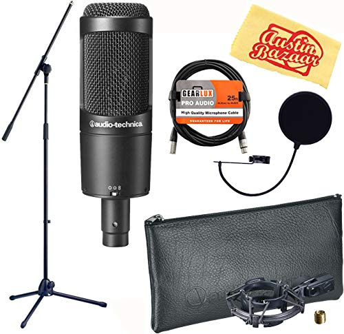 Audio-Technica AT2050 Multi-Pattern Condenser Microphone Bundle with Boom Stand, Pop Filter, XLR Cable, and Austin Bazaar Polishing Cloth