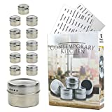 Magnetic Spice Tins | Set of 12 With 100 Labels Included | Round Stainless Steel Spice Storage Containers For Refrigerator | Pour & Sift
