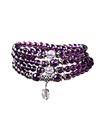 6mm Yoga Meditation Simulated 108 Prayer Beads Simulated Crystal Amethyst/Topaz Mala Wrap Bracelet Necklace (Citrine Beads)