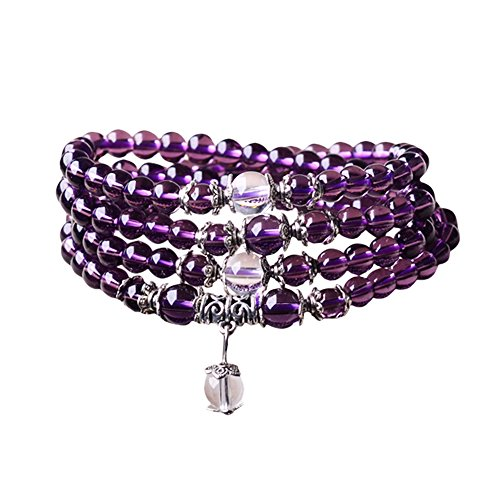 6mm Yoga Meditation Simulated 108 Prayer Beads Simulated Crystal Amethyst/Topaz Mala Wrap Bracelet Necklace (Amethyst Beads) (Amethyst Beads Prayer)