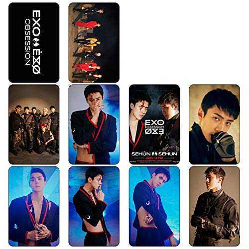 Heyu-Lotus Kpop EXO Album OBSESSION Photo Card PhotoBook Poster LOMO Cards Gift Sticker for Fans(H07)
