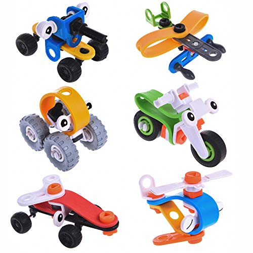 109PCs Building Vehicles Toy for Kids, Boys, 6 Rubber Model Cars Take Apart Toys Kits with Tool, Goodie Bag Fillers, Easter Egg Stuffers, Clossroom Prize
