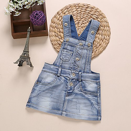 4124c65b36a Kidscool Baby   Little Girls Cotton Denim Adjustable Overalls Dress ...