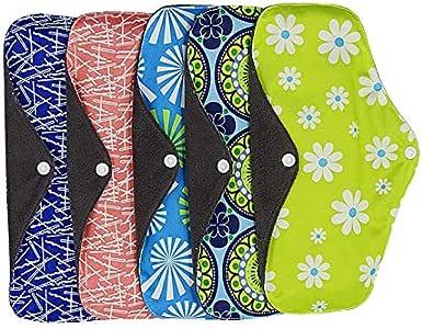 KYK 5pcs Sanitary napkin Reusable washable bamboo charcoal postnatal pad breathable bamboo fiber cloth menstrual period period