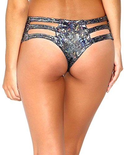 [iHeartRaves Hologram Micro Cut Out Rave Booty Shorts (Small/Medium, Black)] (Black Full Cut Robe Costumes)