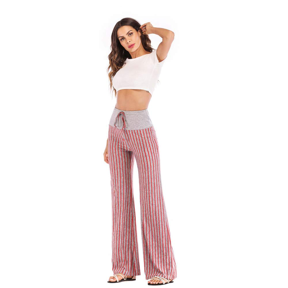 Drawstring Wide Leg Pants for Women Casual Cat Prints Long Trousers